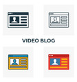 video blog icon set four elements in diferent vector image vector image