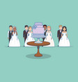 wedding card with group of couples vector image