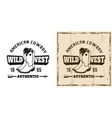 wild west emblem with cowboy boots vector image vector image