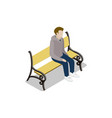 young man on park wooden bench isometric 3d icon vector image