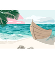 The boat is on the sea shore at summer vector image