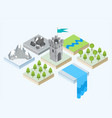 an isometric view of a tower and the surroundings vector image