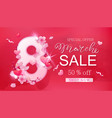 8 march sale banner with heart and sakura vector image vector image