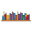 A wooden shelf with books vector image