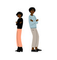 african american couple quarreling young man and vector image