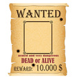 announcement wanted criminal vector image vector image