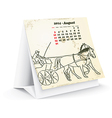 August 2014 desk horse calendar vector image vector image