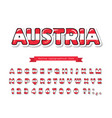 austria cartoon font austrian national flag vector image vector image