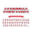 austria cartoon font austrian national flag vector image vector image