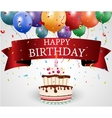 Birthday card with cake and ribbon vector image vector image