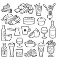 bistro icons line art vector image vector image