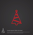 Christmas tree outline symbol red on dark vector image vector image