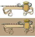 color banner spear and crown vector image vector image