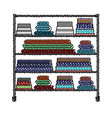 colored crayon silhouette of rack with stack of vector image