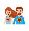 colorful caricature half body couple super hero vector image vector image