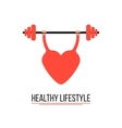 concept of healthy lifestyle with training heart vector image vector image