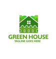 creative green house and fence logo vector image vector image