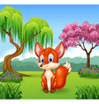 Cute little fox sitting vector image vector image