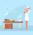 dietician doctor testing food products in lab vector image vector image