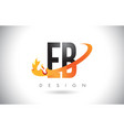 eb e b letter logo with fire flames design and vector image vector image