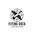 flying duck shooting club logo hunter logo icon vector image vector image