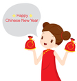 Girl In Cheongsam With Money Bags vector image