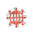 global network icon in comic style cyber world vector image vector image
