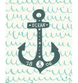 Hand drawn vintage anchor with lettering on the vector image vector image