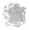 handdrawn map france vector image