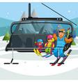 happy cartoon family riding in ski lift vector image