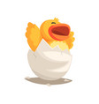 happy duckling baby hatching from egg vector image vector image
