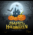 happy halloween gold message pumpkin bat vector image vector image