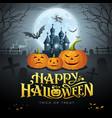 happy halloween gold message pumpkin bat vector image vector image