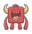 happy laughing red square devil cartoon monster vector image vector image
