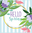 hello spring purple flowers leaves frame striped vector image