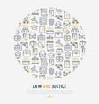 law and justice concept in circle vector image vector image