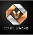 letter v logo symbol in the colorful rhombus on vector image vector image