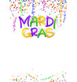 mardi gras traditional colors sign on confetti and vector image vector image