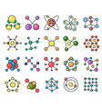 molecules flat color line color icons set vector image vector image