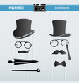 movember retro party printable glasses hats props vector image