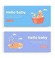 newborn lettering on set banners hello baby vector image