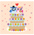 owls couple and wedding cake vector image vector image