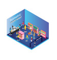 people shopping in a food mart isometric artwork vector image