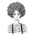 portrait a beautiful black woman linear vector image