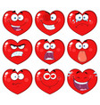 red heart cartoon emoji facecollection - 1 vector image