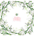 round frame with pretty snowdrops calligraphy vector image vector image