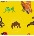 Seamless pattern with cartoon insects vector image
