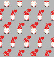 seamless pattern with cute valentine gnomes vector image vector image