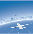 seattle skyline flight destination vector image vector image