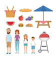 set fun picnic recreation and delicious food vector image